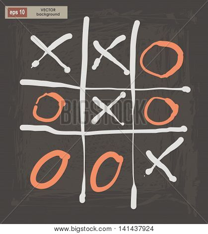 Vector drawing of tic tac toe on a dark background.  Decorative stylized design element.  Elegant vector illustration