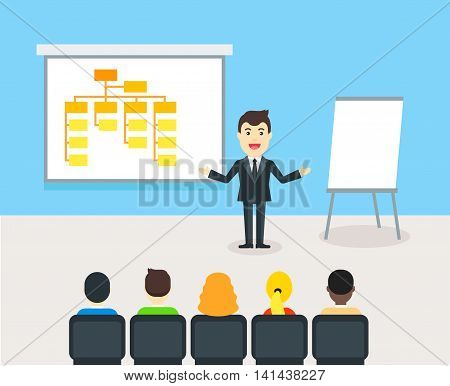 Owner of company giving a presentation for employees. Businessman talking about structure of company. Business building and conference concept - flat vector illustration.