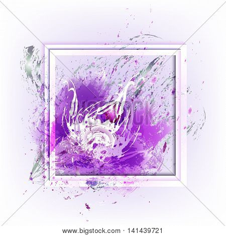 Beautiful flower in the frame. Styling with watercolor paint splashes. Element for your design.