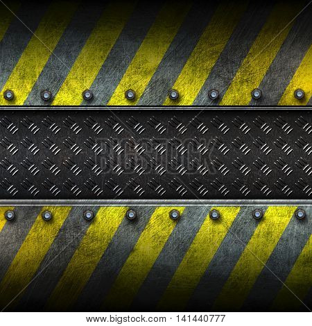 grunge metal and diamond plate with yellow painted. safety zone. 3d illustration. background and texture.