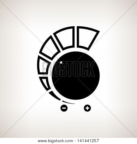 Silhouette volume control power control on a light background ,black and white illustration
