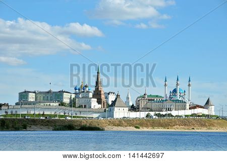 Kazan, Tatarstan, Russia - August 5, 2016. View of the left bank of the river Kazanka. Kazan Kremlin.