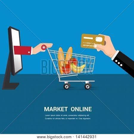 Market online delivery to home.cartoon business concept