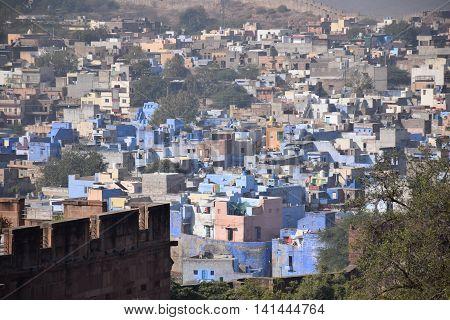 Aerial view of Jodhpur from Meherangarh fort, Rajasthan, India