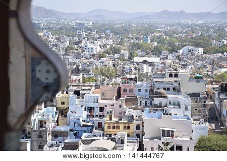 Aerial view of Udaipur from a window of City Palace, Rajasthan, India