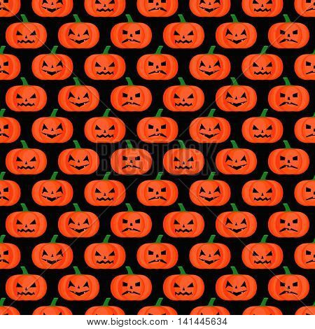 Halloween background. Seamless pumpkin pattern. Happy Halloween concept illustration on black background.