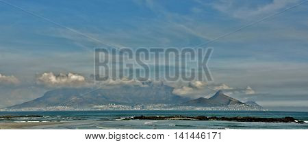 Landscape with beach and Table mountain on a winters day