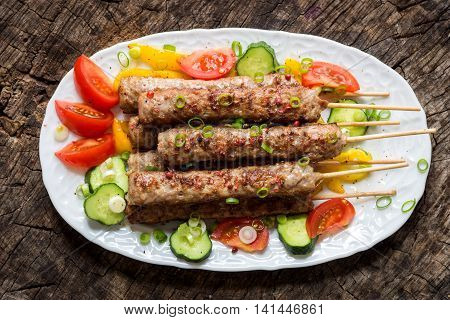 Minced Meat Kebab With Fresh Vegetable