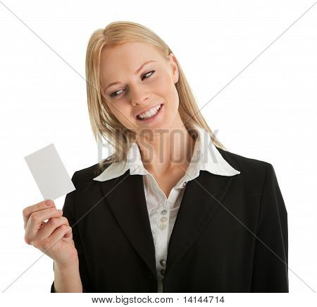 Businesswoman holding blank card