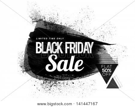 Black Friday Sale with Flat 50% Off for Limited Time Only, Stylish abstract watercolor background, Creative Poster, Banner or Flyer design.