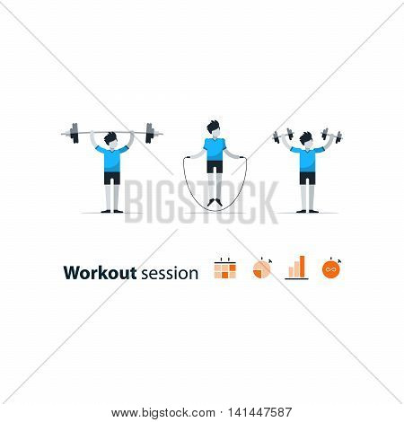 Workout session, daily exercises, fitness time, dumbbell push-ups