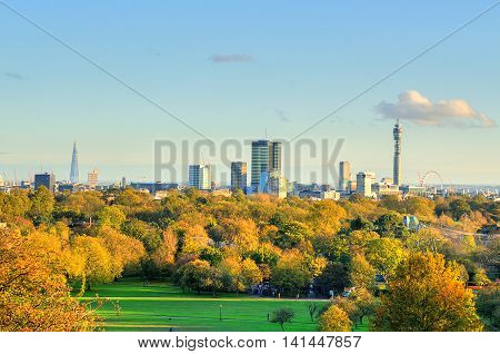 Breath-taking Panoramic Scenic View Of London Cityscape Seen From Beautiful Primrose Hill In St. Reg