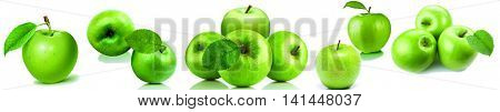 panorama, fruit, green apple, white background, drop of water, food, kitchen.