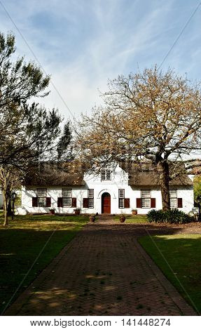 Close up of beautiful Cape Dutch Farm House
