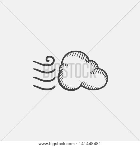 Windy cloud sketch icon set for web, mobile and infographics. Hand drawn vector isolated icon.