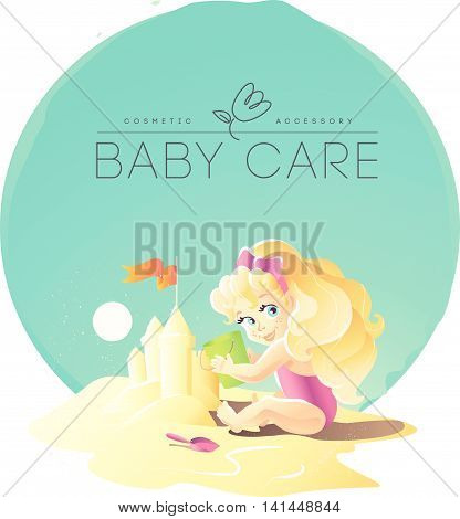 Vector baby care cosmetic logo design. Little baby girl playing on the sand friendly cheerful character. Cartoon style. Happy kid portrait. Summer holiday illustration. Flat icon children illustration
