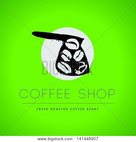 Vector vintage coffee shop emblem logo design isolated on green background. Coffee store label insignia template. Coffee bean, coffee pot stamp hand drawn. Coffee seed icon.