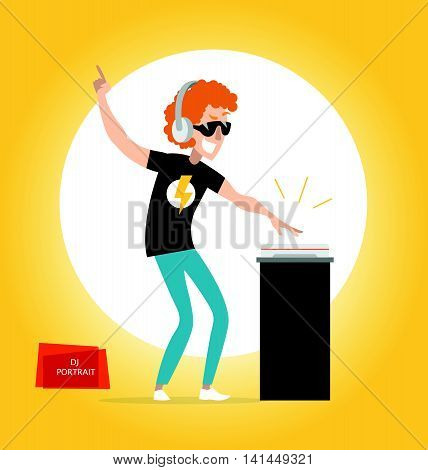 Vector flat friendly smiling person character portrait. DJ portrait playing music isolated. Cartoon style. Human profession icon. Handsome smiling man in sunglasses and headphones.