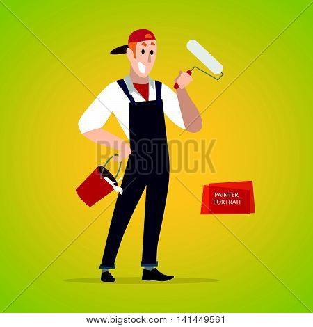 Vector flat friendly smiling person character portrait. House painter portrait isolated. Cartoon style. Human profession icon. Handsome smiling man standing with bucket and roller.
