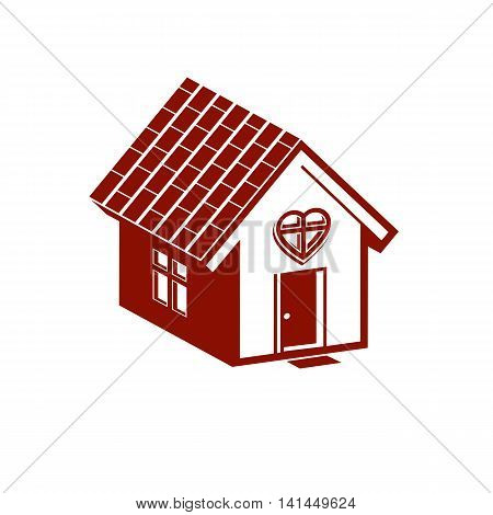 Family house abstract vector icon harmony and love concept. Simple building constructed with bricks