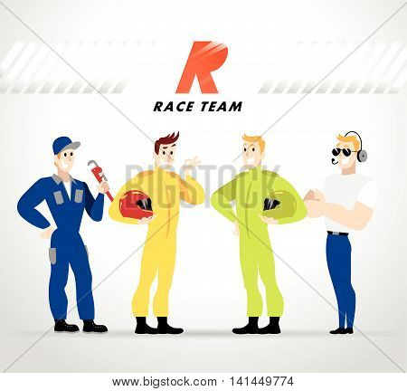Flat profession characters. Human profession icon. Friendly, happy people portrait. Sport race team, car service group, people set. Auto logo, insignia. Man, boy, guy icon. Cartoon style.