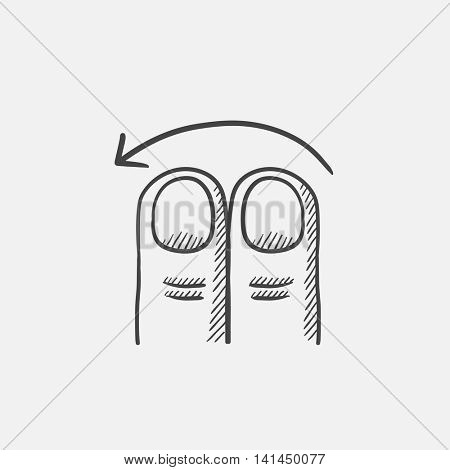 Swipe left with two fingers sketch icon for web, mobile and infographics. Hand drawn vector isolated icon.