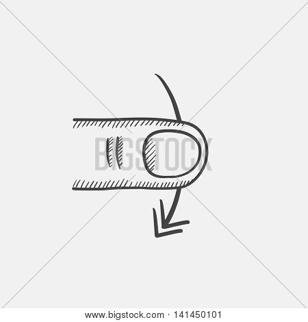 Swipe down sketch icon for web, mobile and infographics. Hand drawn vector isolated icon.