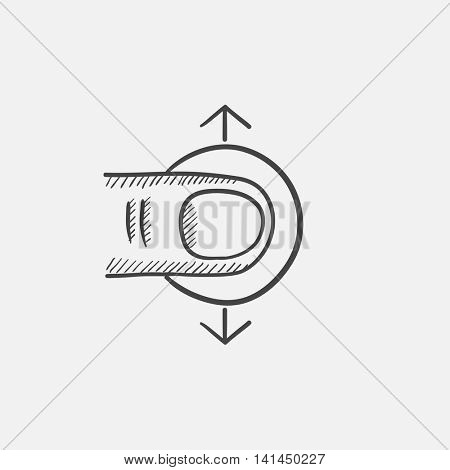 Drag vertically sketch icon for web, mobile and infographics. Hand drawn vector isolated icon.