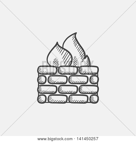 Firewall sketch icon for web, mobile and infographics. Hand drawn vector isolated icon.