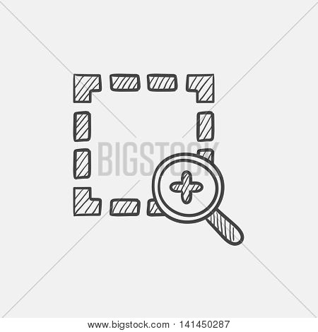 Zoom in sketch icon for web, mobile and infographics. Hand drawn vector isolated icon.