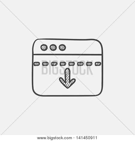 Browser window with arrow down sketch icon for web, mobile and infographics. Hand drawn vector isolated icon.
