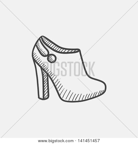 High-heeled ankle boot sketch icon set for web, mobile and infographics. Hand drawn vector isolated icon.