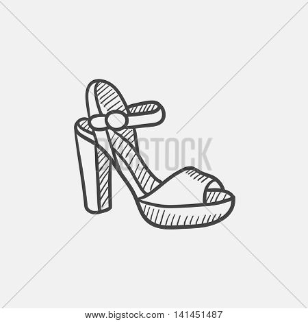 High-heeled sandal sketch icon set for web, mobile and infographics. Hand drawn vector isolated icon.