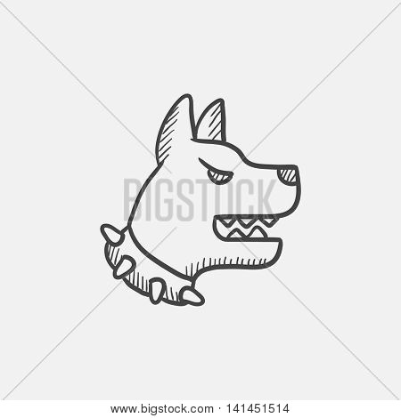 Aggressive police dog sketch icon for web, mobile and infographics. Hand drawn vector isolated icon.