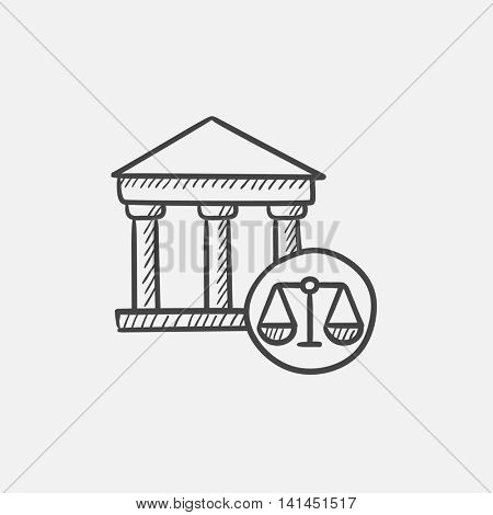 Court sketch icon for web, mobile and infographics. Hand drawn vector isolated icon.