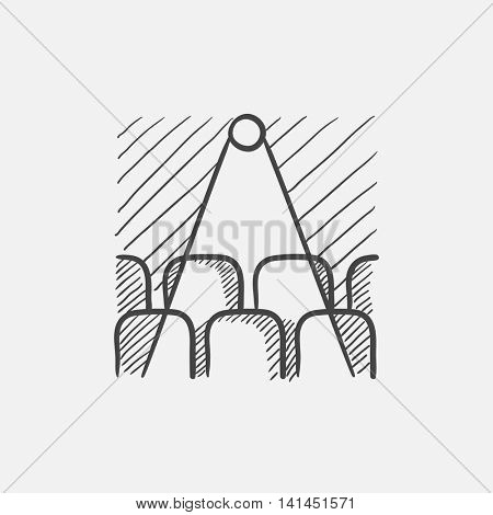 Movie theater with empty seats and projector sketch icon for web, mobile and infographics. Hand drawn vector isolated icon.