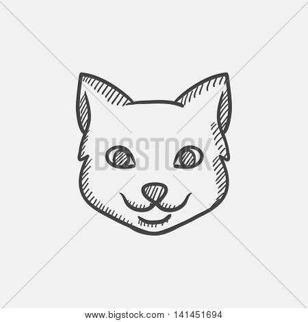 Cat head sketch icon set for web, mobile and infographics. Hand drawn vector isolated icon.