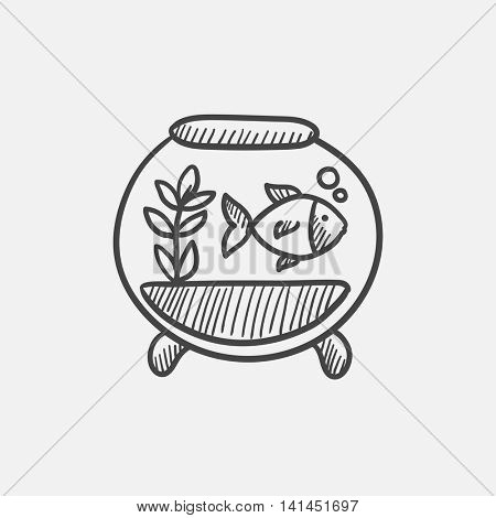 Fish in aquarium sketch icon set for web, mobile and infographics. Hand drawn vector isolated icon.