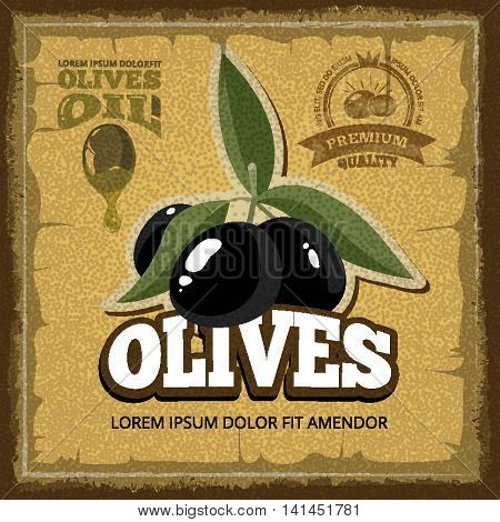 vector vintage poster of premium quality Olives with leaf. Pictures for emblems or labels design. Template with place for your text.