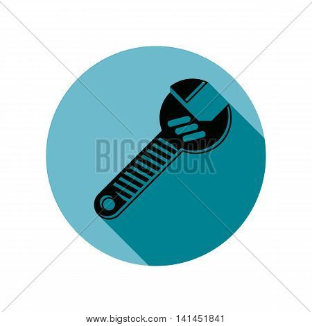 Adjustable wrench isolated on white repair tool icon. Manufacture theme vector design element