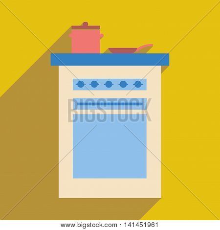 Flat web icon with  long shadow stove and pans