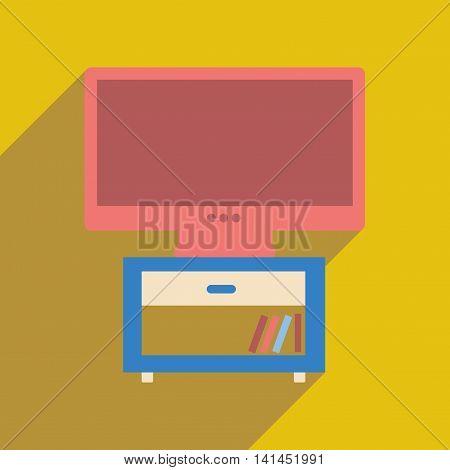 Flat web icon with  long shadow plasma TV