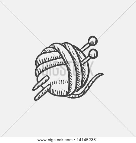 Threads for knitting with spokes sketch icon for web, mobile and infographics. Hand drawn vector isolated icon.