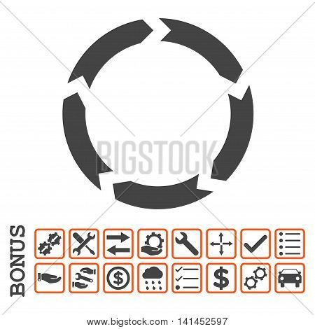 Circulation icon with bonus pictograms. Vector style is flat iconic symbol, orange and gray colors, white background. Bonus style is bicolor square rounded frames with symbols inside.