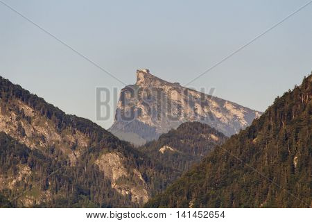 View from the Fuschlsee at the Schafberg mountain with during summer season