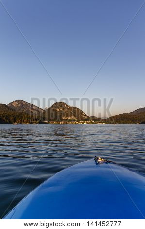 The Fuschlsee during summer season with it's beautiful surrounding landscape