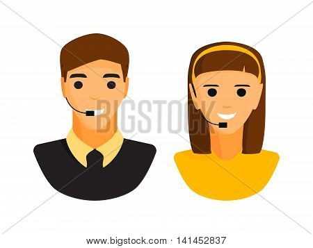 Girl and boy support face headphone vector illustration. Woman and man avatar head headphone isolated on white background. Support icon headphone vector icon illustration. Support girl and boy