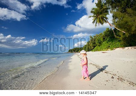 Little Girl On Tropical Beach