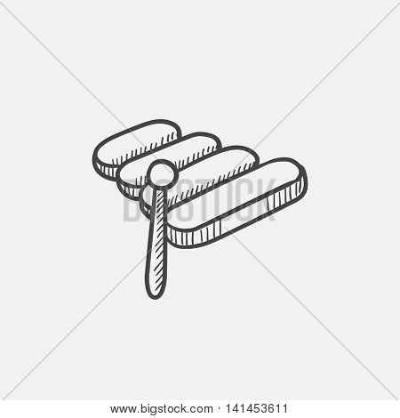 Xylophone sketch icon for web, mobile and infographics. Hand drawn vector isolated icon.
