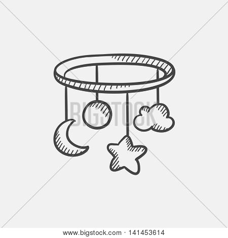 Baby bed carousel sketch icon for web, mobile and infographics. Hand drawn vector isolated icon.